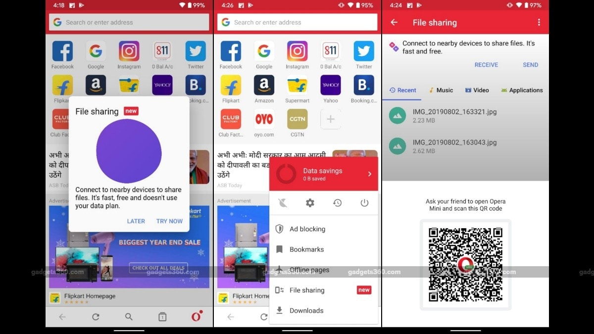 Opera Mini Browser Introduces Offline File Transfer Feature