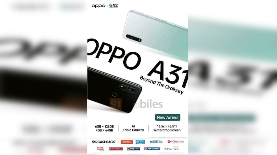 Oppo A31 Tipped to Launch in India Next Week, Sale Offers Tipped