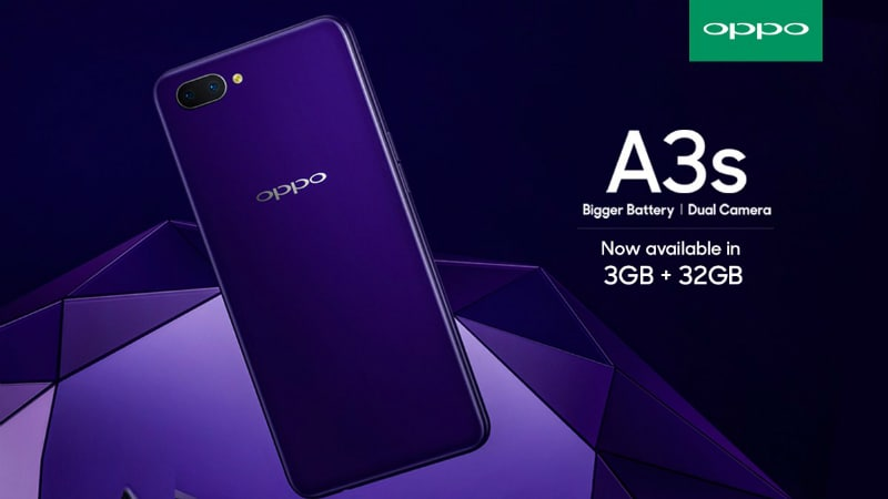Oppo A3s 3GB RAM, 32GB Storage Variant Launched in India: Price, Specifications