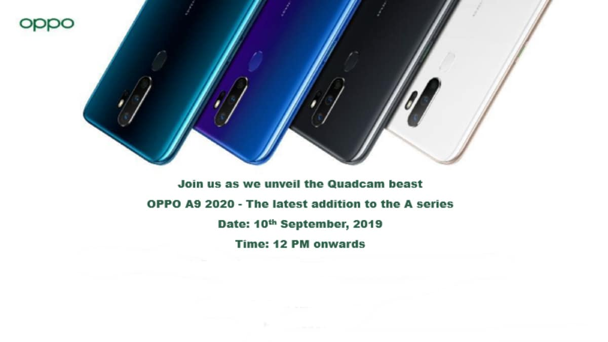 Oppo A9 2020 Launch Date in India Set for September 10, Will Sport Quad Rear Cameras