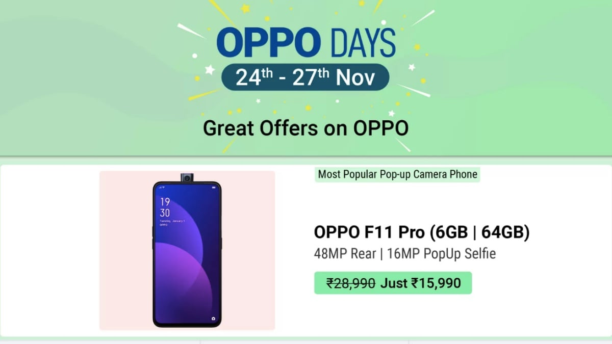 Oppo Days Sale Brings Discounts on Oppo F11 Pro, Oppo F11, Oppo F9, and More; Exchange Offers Also in Tow