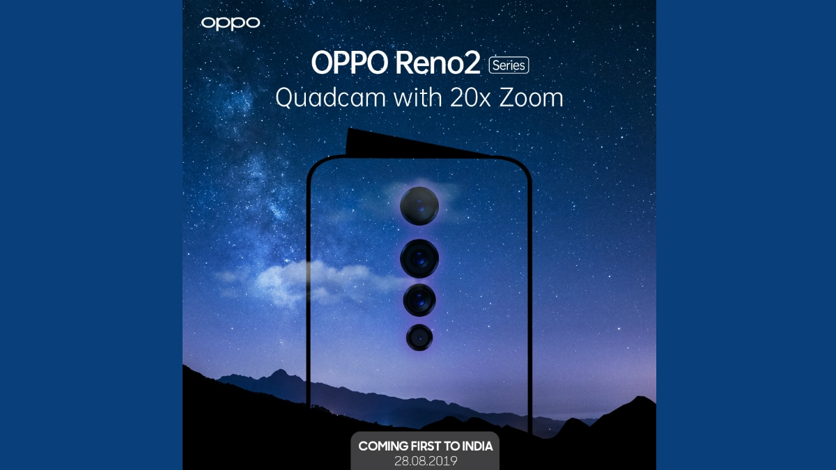 Oppo Reno 2 With 20X Zoom, Quad Camera Setup to Launch in India on August 28