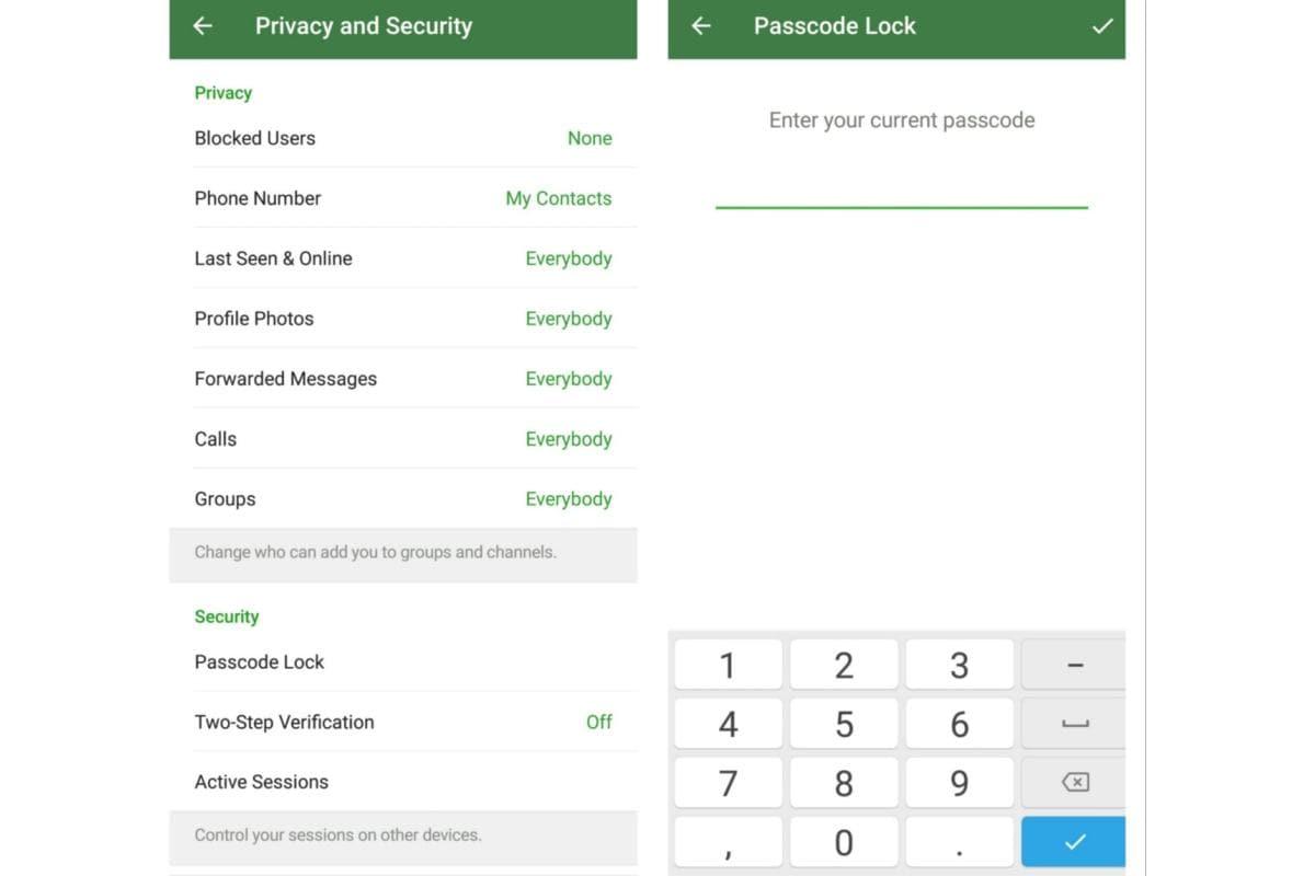 passcode lock telegram passcode