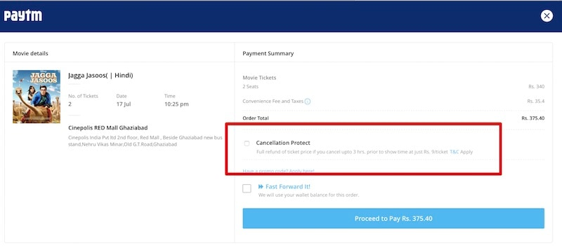 Paytm Now Offering Refunds for Movie Tickets at a Nominal