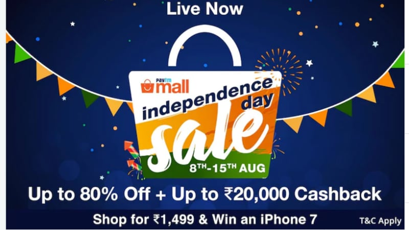 Paytm Mall Independence Day Sale Offers: iPhone 7, Laptops, and Other Deals