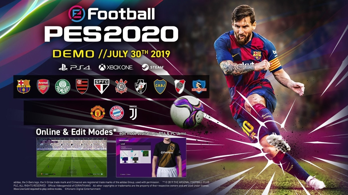 eFootball PES 2020 Demo Release Date, Download Size, Teams