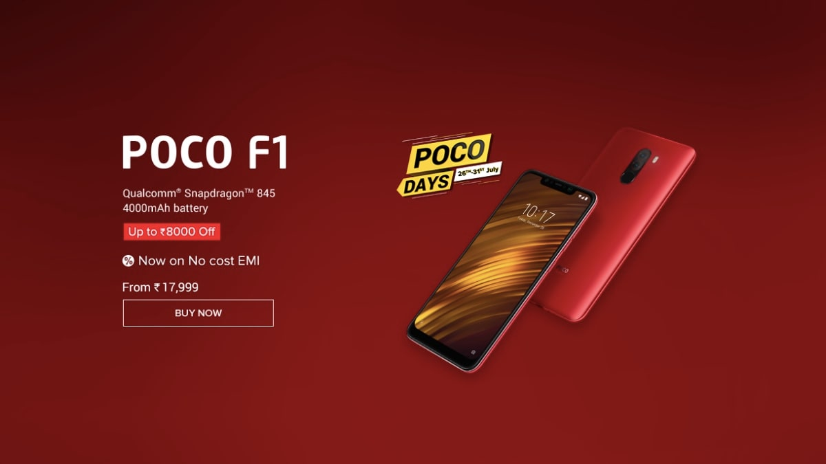 Poco Days Sale: Poco F1 128GB, 256GB Variants Receive Discount, Other Offers on Mi.com