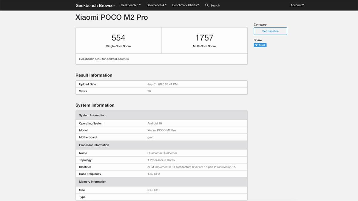 poco m2 pro geekbench gadgets360 Poco M2 Pro Geekbench