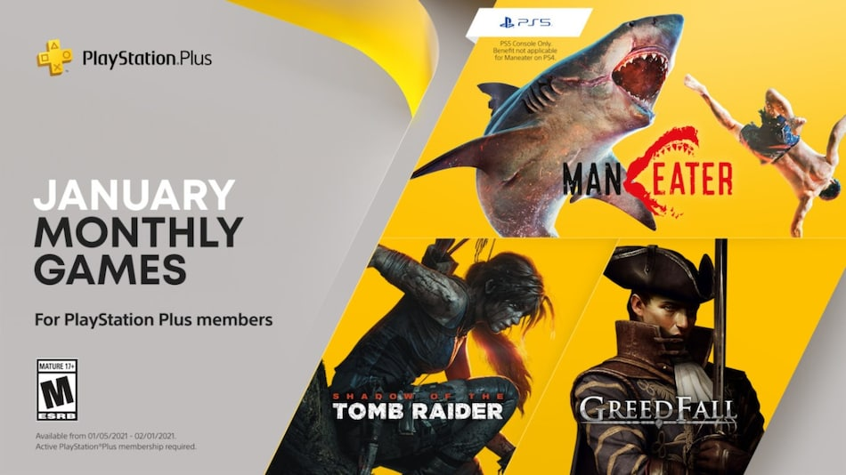PlayStation Plus Free Games announced for January: Maneater, Shadow of the Tomb Raider, Greedfall