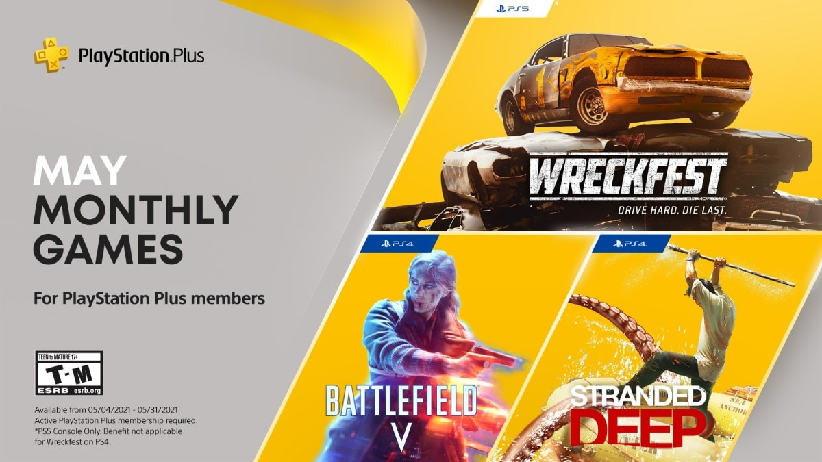 PlayStation Plus Free Games Announced for May: Battlefield V, Stranded Deep, Wreckfest