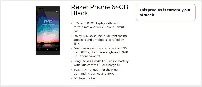 Razer Phone With 8GB RAM, 120Hz Display, Dual Cameras, and More Leaked