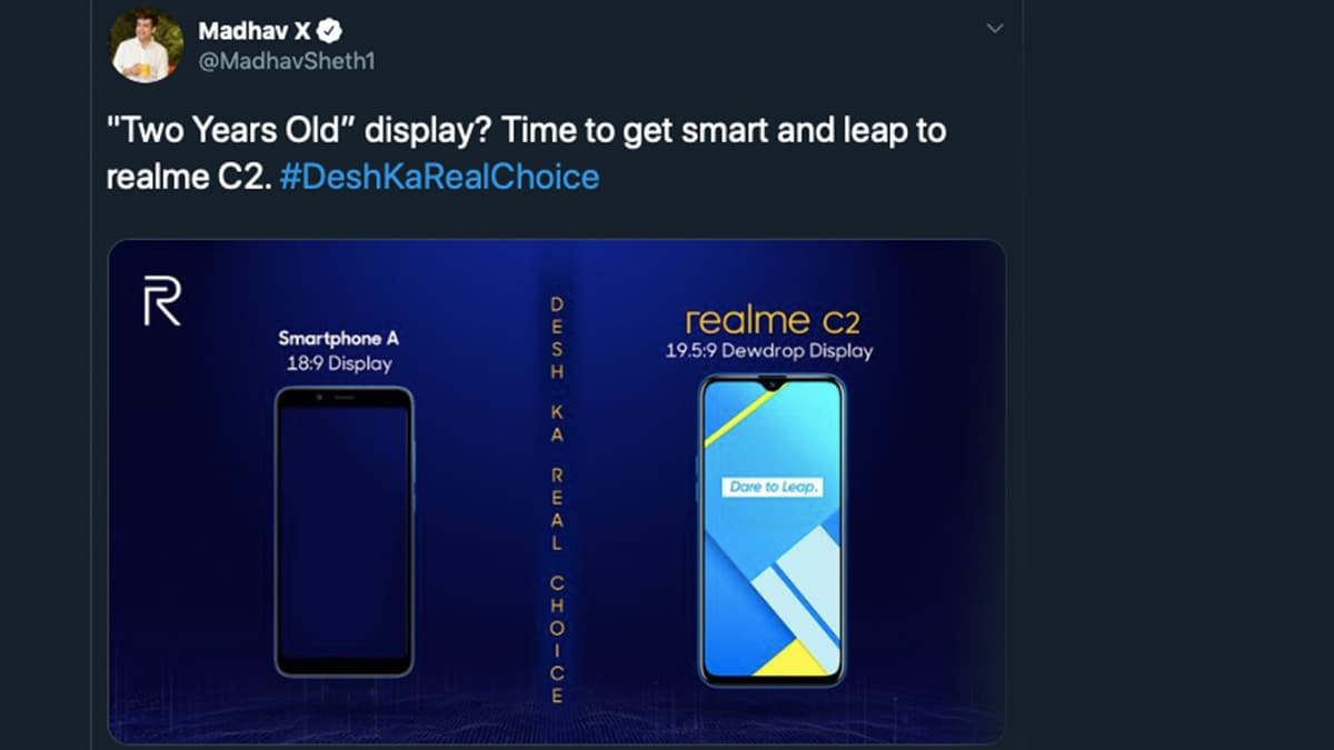 Redmi 7A a Target of Realme India CEO's Barbs on Twitter, Poking Fun at Its '2-Year Old' Display, Single Rear Camera