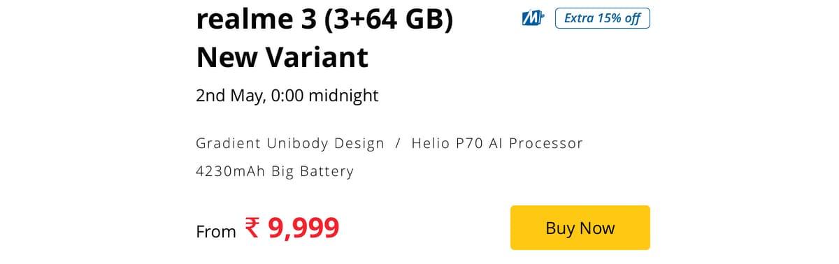 realme 3 3gb 64gb variant price reveal realme