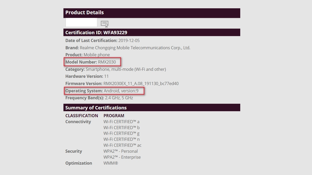Realme 5i Gets Wi-Fi Alliance Certification, Tipping Imminent Launch