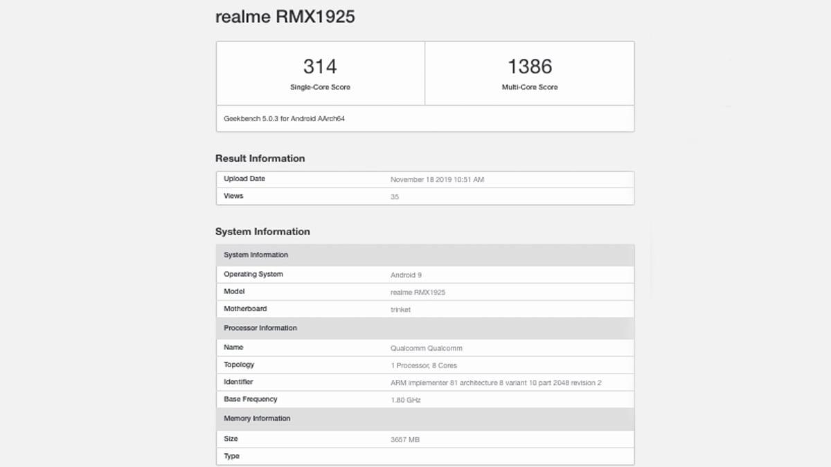 realme 5s geekbench benchmark Realme 5s Geekbench Benchmark