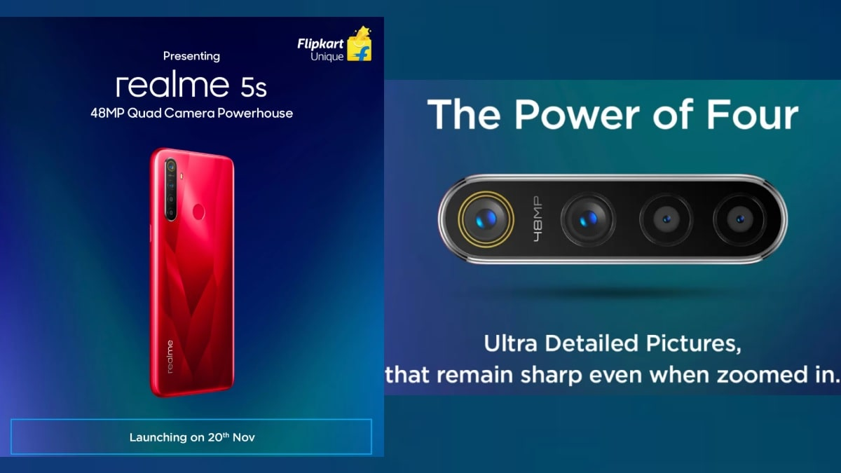 Realme 5s India Launch Confirmed for November 20, Flipkart Teaser Reveals Design and 48-Megapixel Quad Rear Camera Setup