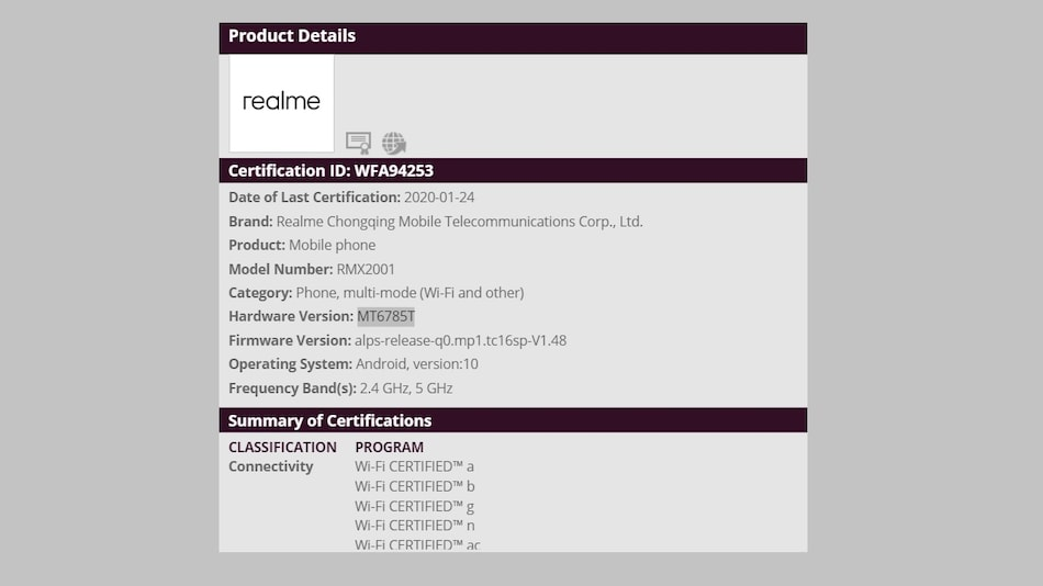 Realme 6 Wi-Fi Alliance Listing Reveals MediaTek Helio G90T SoC