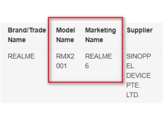 Realme 6 With RMX2001 Model Number Gets IMDA Certification, Hinting at Imminent Launch