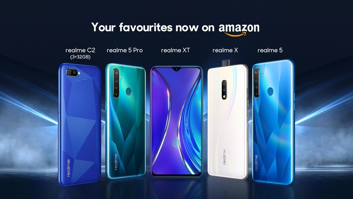 Realme 5 Pro, Realme 5, Realme XT, Realme X और Realme C2 की बिक्री होगी अमेज़न पर