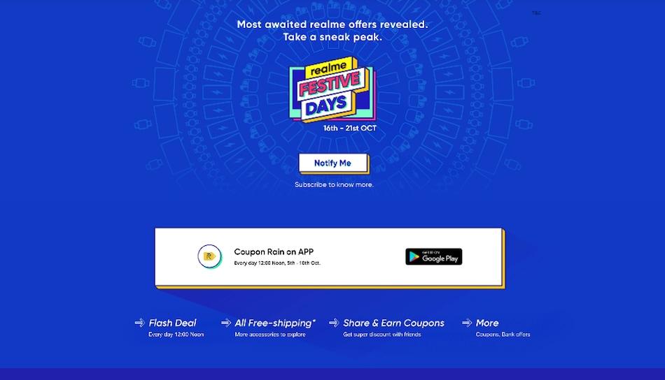 Realme Festive Days सेल 16 अक्टूबर से, इन ऑफर्स का उठाएं फायदा