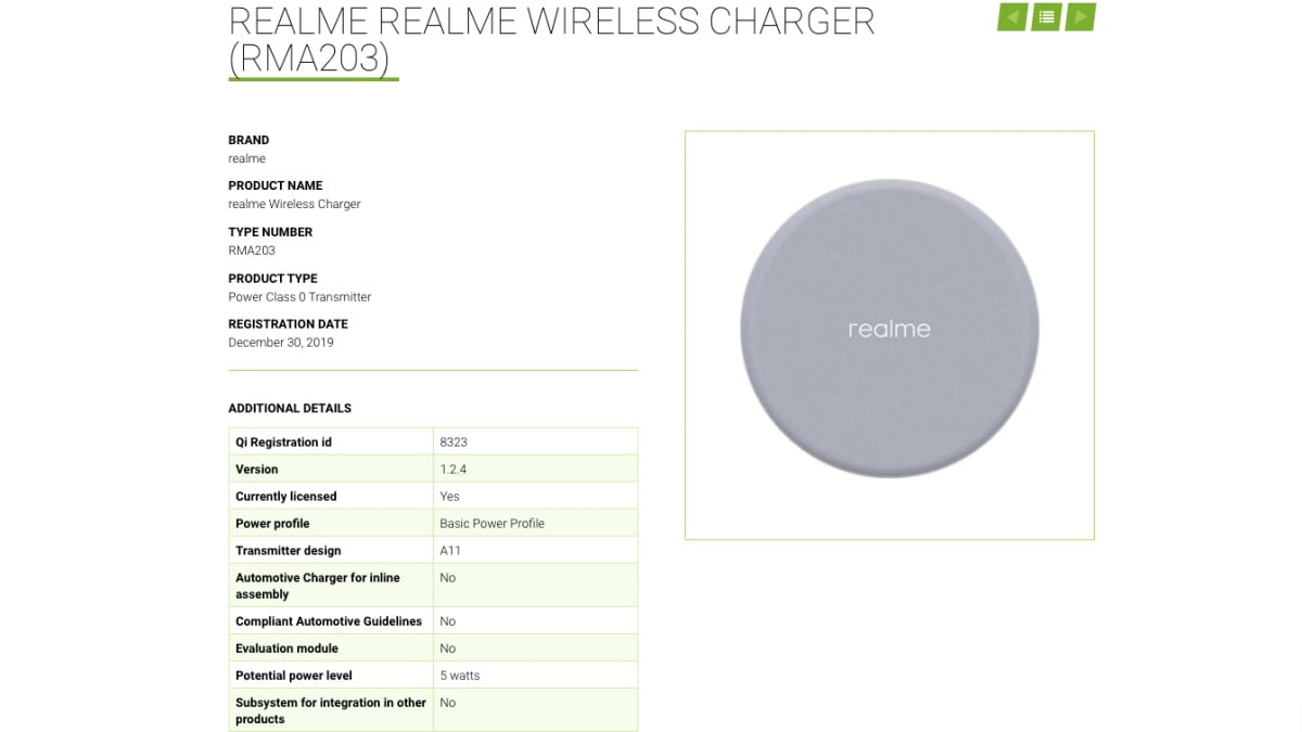 Realme Wireless Charger With 5W Charging Speed Spotted Online, Expected to Launch Soon