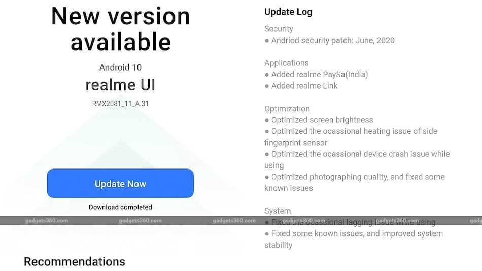 Realme X3 SuperZoom, Realme X3 Update Brings June 2020 Patch, Realme PaySa App