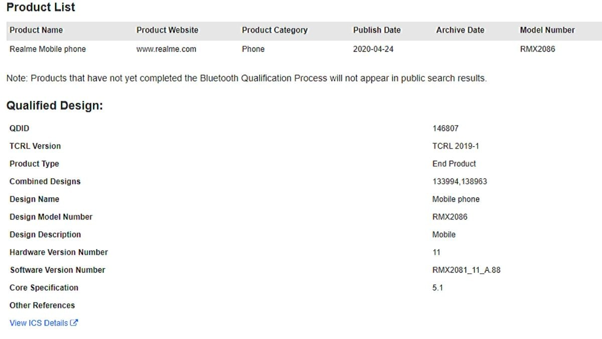 Realme X3 Superzoom Spotted On Bluetooth Sig Website Ahead Of