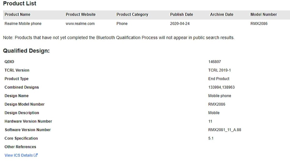 Realme X3 SuperZoom Spotted on Bluetooth SIG Website Ahead of Launch