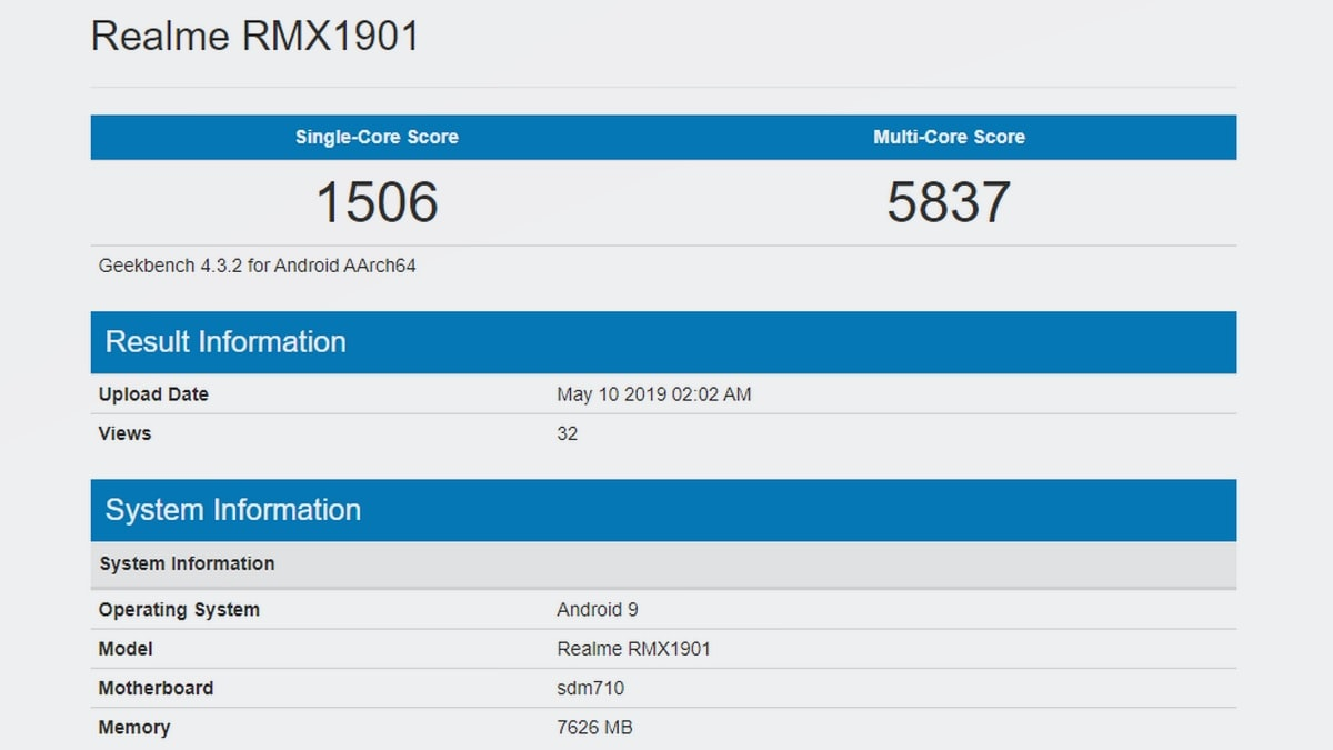Realme X Spotted on Geekbench With Snapdragon 710 SoC, 8GB of RAM
