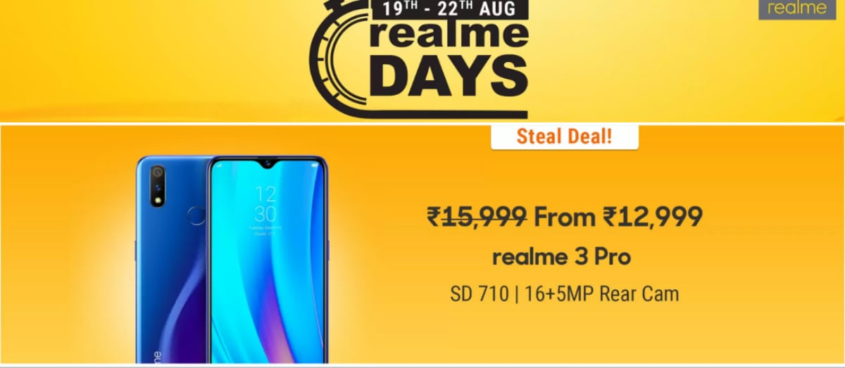 Realme Days Sale Kicks Off on Flipkart: Offers on Realme 3 Pro, Realme 2 Pro, Realme 3, More