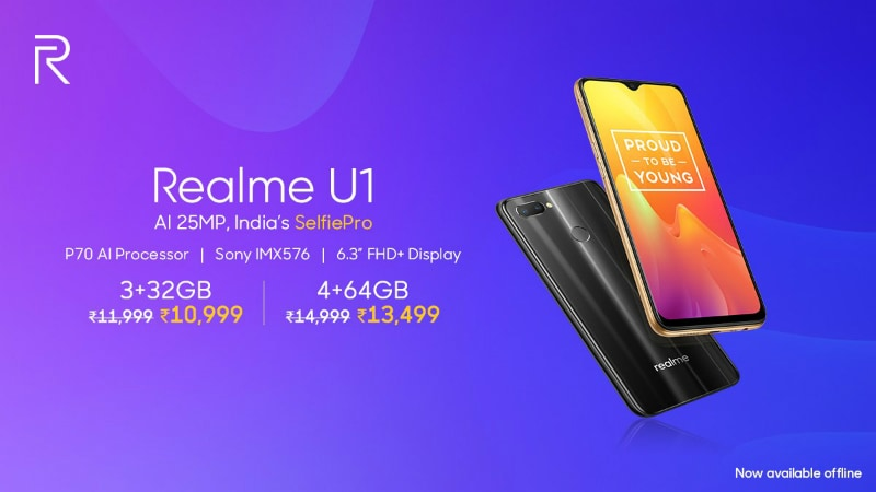 Realme U1 Price in India Cut, Becomes Available via Offline Stores