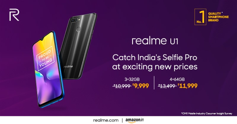 Realme U1 Price in India Cut Once Again, Now Starts at Rs. 9,999