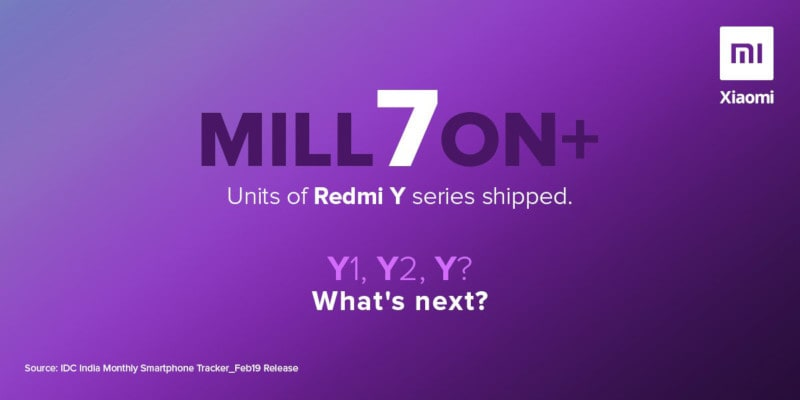 Redmi Y-Series Shipped 7 Million Units Since Launch in India, Says Xiaomi