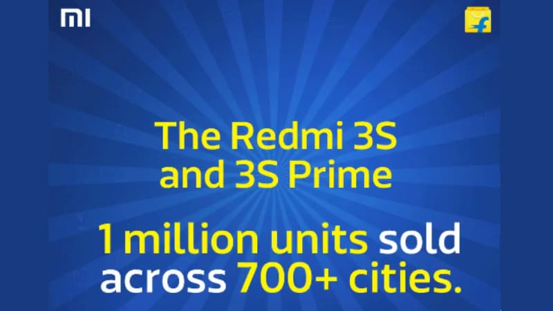 Xiaomi Redmi 3S Sales in India Cross 1 Million in Less Than 4 Months, Says Flipkart