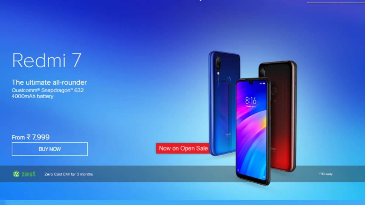 Redmi 7 Goes on Open Sale in India via Amazon, Mi.com, Mi Home Stores