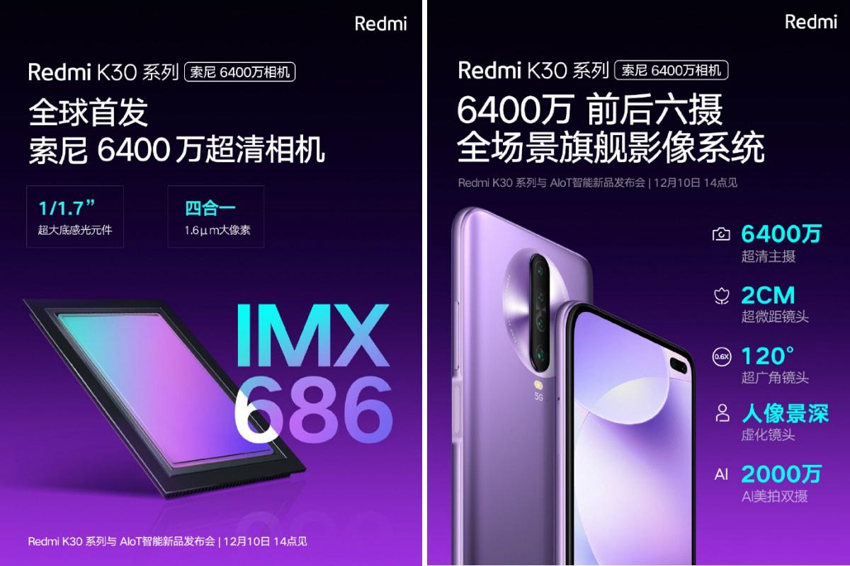 redmi k30 sony imx 686 fotocamera teaser weibo Redmi K30