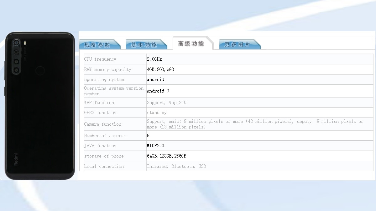 Redmi Note 8 Variant With 8GB of RAM, 256GB Internal Storage Spotted on TENAA