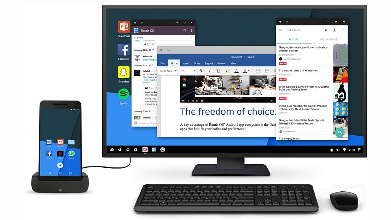 Remix OS for Mobile Brings Windows 10-Like Continuum Feature to Android