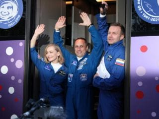 Russian Actors Blast Off to Attempt a World First: A Movie in Space