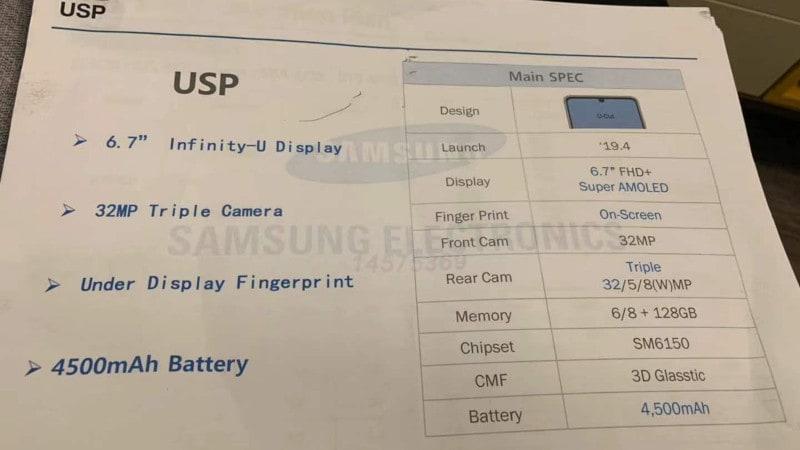 Samsung Galaxy A60 Leak Tips 6.7-Inch Full-HD+ Screen, 4,500mAh Battery, Snapdragon 6150 SoC