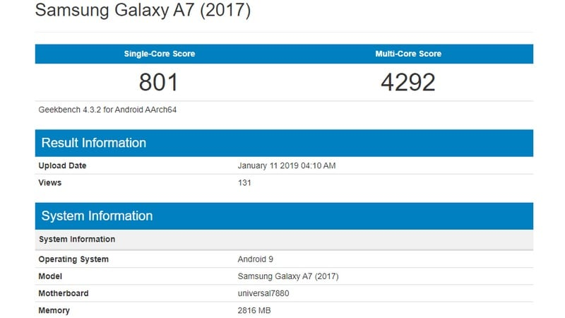 Samsung Galaxy A7 (2017) May Get Android 9 0 Pie Update, Geekbench