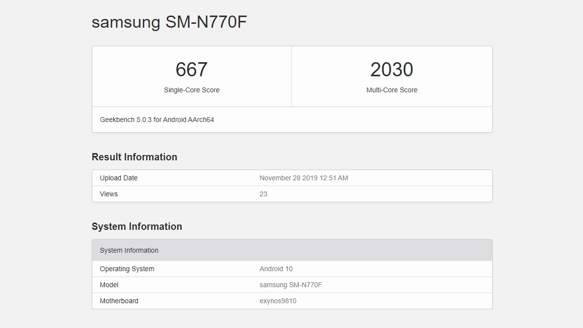 Samsung Galaxy Note 10 Lite Spotted on Geekbench, Tips Exynos 9810 SoC, 6GB of RAM