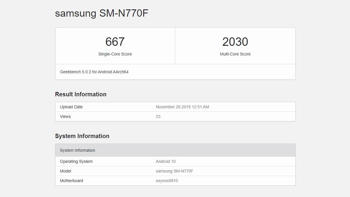 Samsung Galaxy Note 10 Lite के स्पेसिफिकेशन लीक