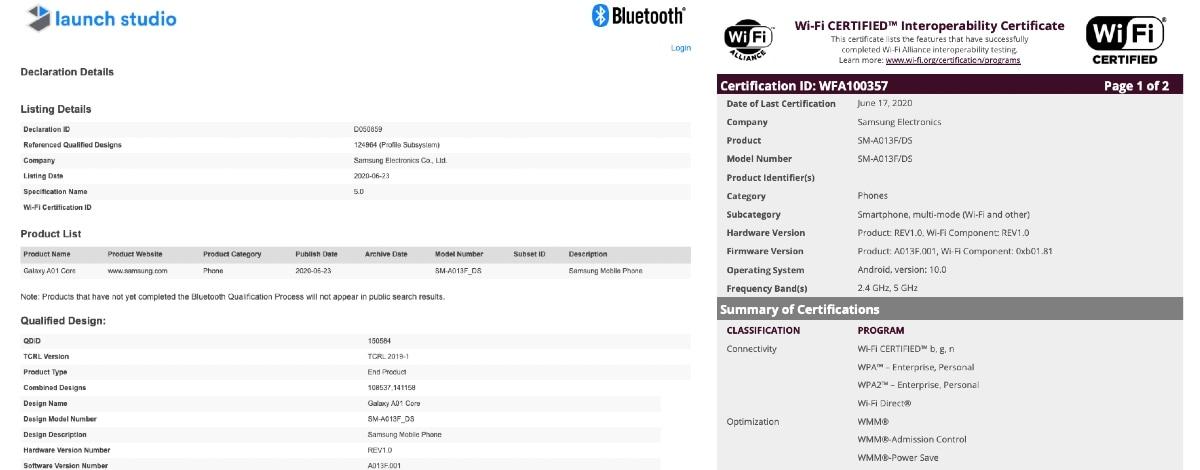 samsung galaxy a01 core bluetooth wi fi alliance certifications screenshots gadgets 360 Samsung Galaxy A01 Core