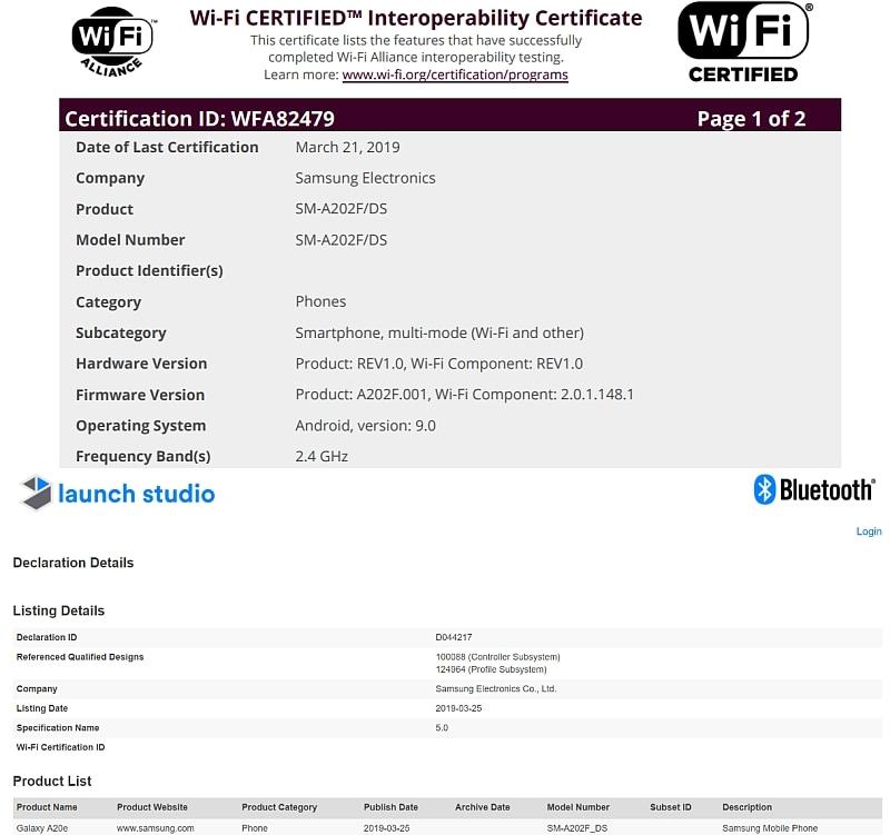 samsung galaxy a20e wi fi alliance bluetooth sig certifications Samsung Galaxy A20e