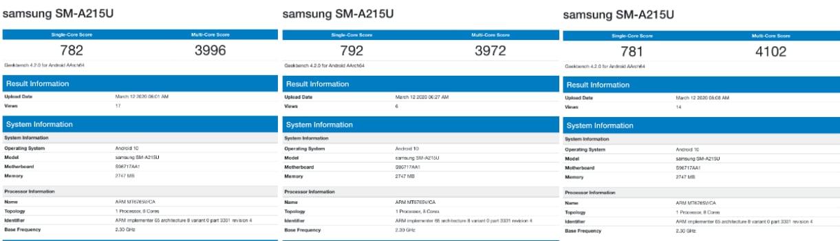 samsung galaxy a21 benchmark listings geekbench Samsung Galaxy A21