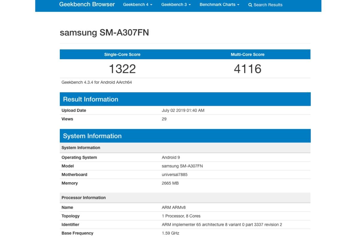 samsung galaxy a30s geekbench listing Samsung Galaxy A30s
