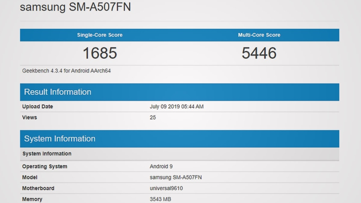 Samsung Galaxy A50s Spotted on Geekbench With Exynos 9610 SoC, 4GB of RAM