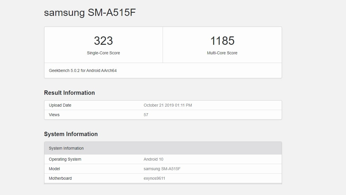 Samsung Galaxy A51 Allegedly Spotted on Geekbench With Exynos 9611 SoC, Android 10