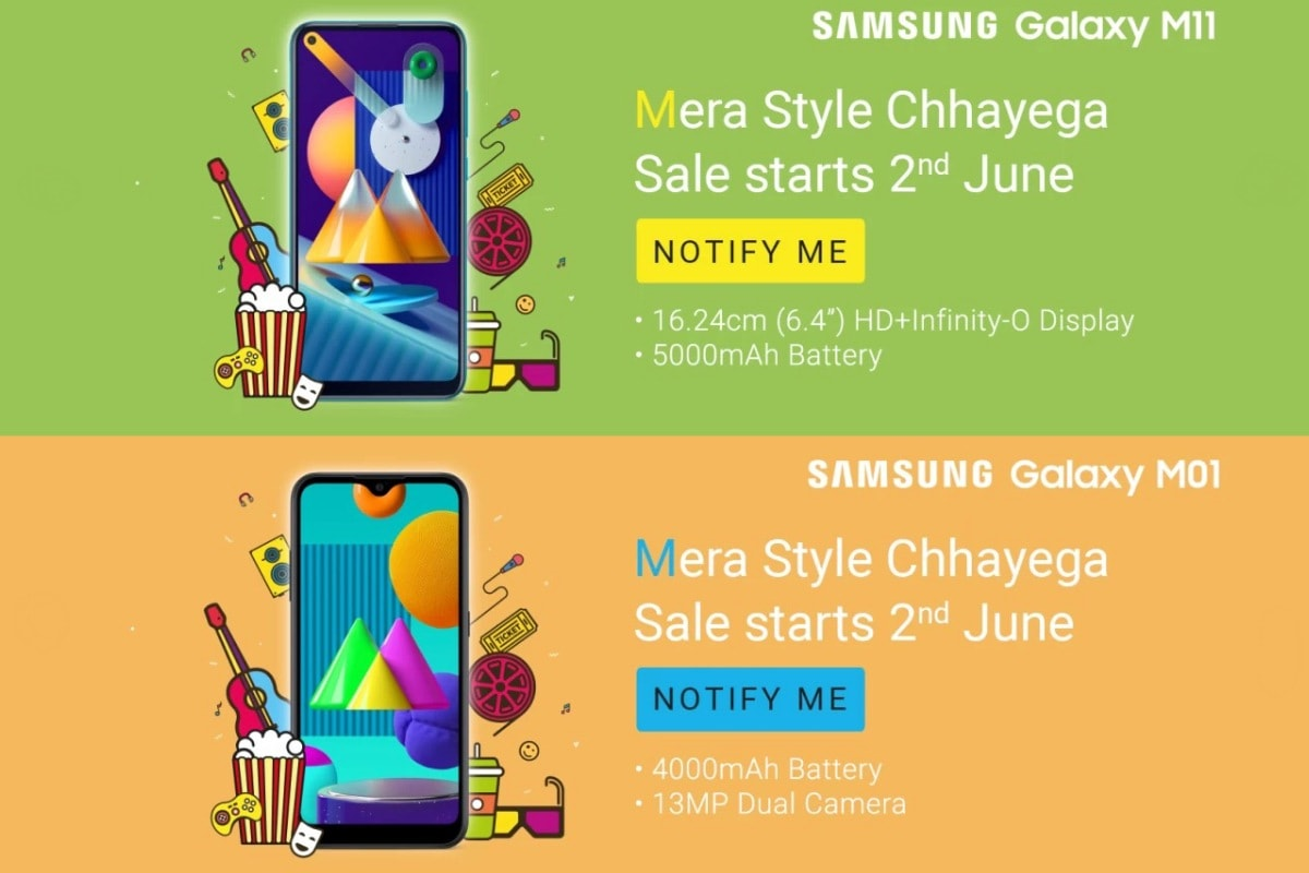Samsung Galaxy M11, Galaxy M01 Set to Launch in India on June 2, Flipkart Reveals